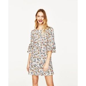 NWT Zara Floral Print Frilled Sleeve Mini Dress